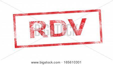 RDV acronym in a red rectangular stamp