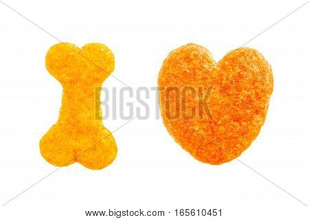 Bone And Heart Of Dog Food Isolated On White Background Symbolic I Love With Clipping Path