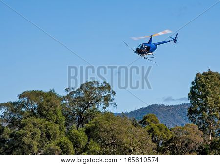 blue helicopter flies over the forest, aerial