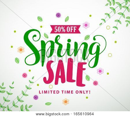 Spring sale vector banner design with colorful leaves and flowers in white background for spring seasonal discount promotion. Vector illustration.