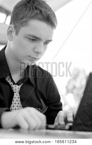 Portrait Of Young Man In The Business Suit, Businessman, Laptop, Black And White