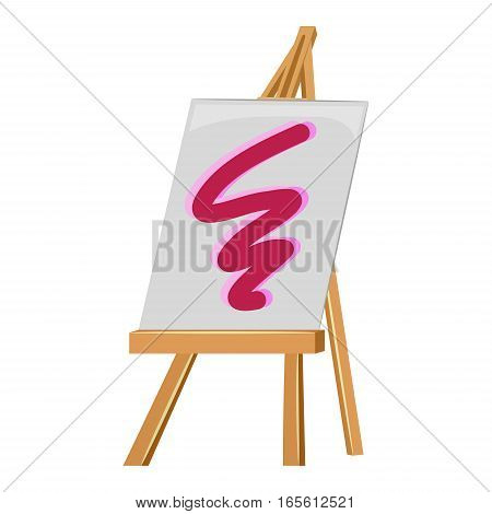 Illustration of Wooden Easel Stand and Canvas