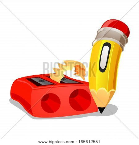 Vector Illustration of Pencil with Red Sharpener