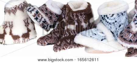 A variety of woolen slippers with pattern handmade