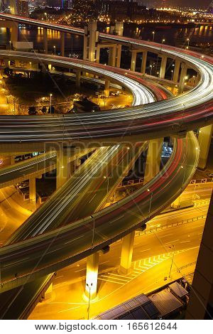 Aerial photography at Asia's largest across the rivers in Shanghai landmarks a spiral nanpu bridge of night scene