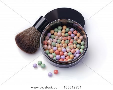 Varicoloured Blush Balls In Black Container And Brush For Makeup