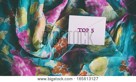 Colorful Silk Scarf, Words On White Paper Sticker