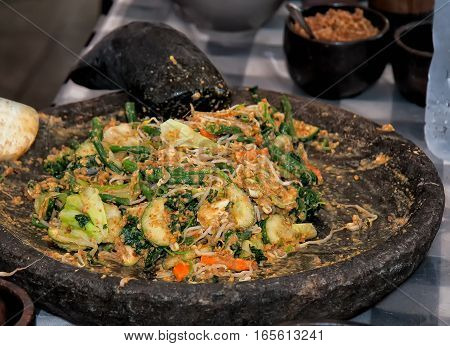 Oking Class, Vegetables Mixed On A Stone Plate