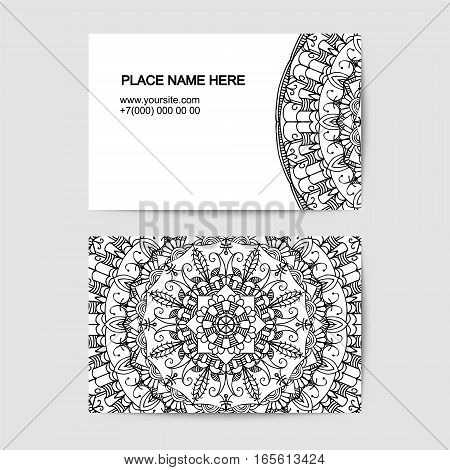 visit card template with lace vector pattern