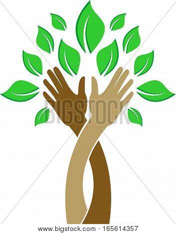 logo illustration hand tree for organization green ecology