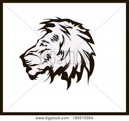 vector illustration lion head tattoo symbol .