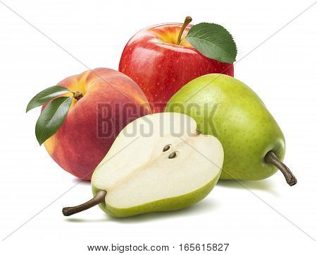 Pear apple peach isolated on white background as package design element