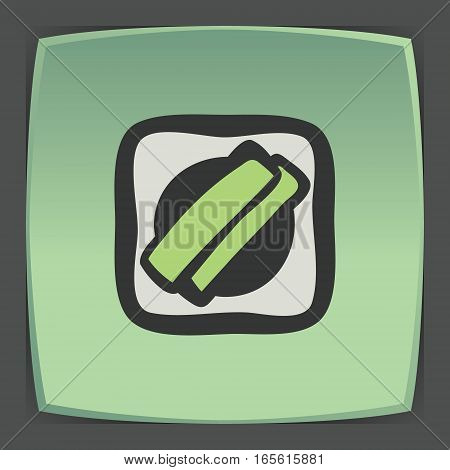Vector outline sushi rice roll with green grass and wasabi japan food icon on green flat square plate. Elements for mobile concepts and web apps. Modern infographic logo and pictogram.