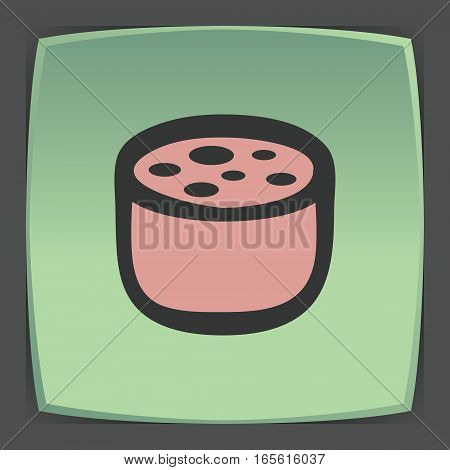 Vector outline pork, beef, mutton meat sausage cutting food icon on green flat square plate. Elements for mobile concepts and web apps. Modern infographic logo and pictogram.
