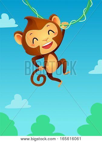Vector Illustration of Monkey hanging on a vine