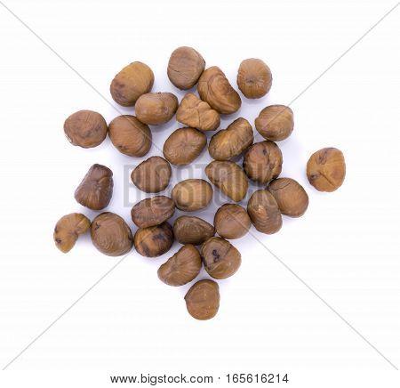 chinese food peeled roasted chestnut on white background