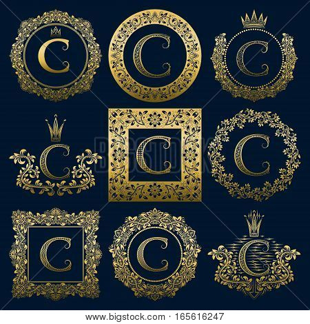 Vintage monograms set of C letter. Golden heraldic logos in wreaths round and square frames.