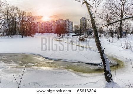 Frozen Water, Snow And Ice On The Dnieper River