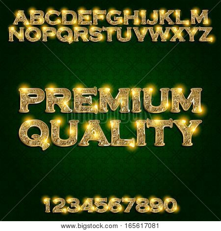 Premium quality Golden glowing alphabet and numbers on a dark background. Vector illustration for your graphic design.