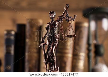 Law and justice concept - Themis and legal code