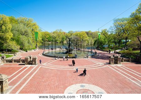 NEW YORK USA - MAY 5 2014: spring landscape in the Central park New York USA
