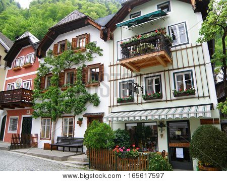 Beautiful White and Pink Traditional Architecture at Market Square of Hallstatt in Salzkammergut, Austria