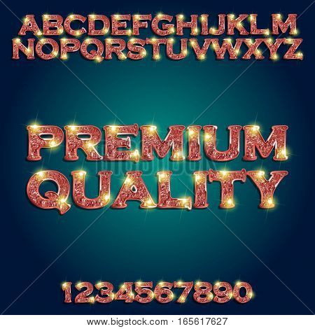 Premium quality Golden glowing red alphabet and numbers on a dark background. Vector illustration for your graphic design.