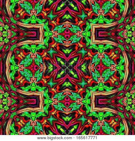 Computer generated illustration with red and green multicolour abstract kaleidoscopic pattern.