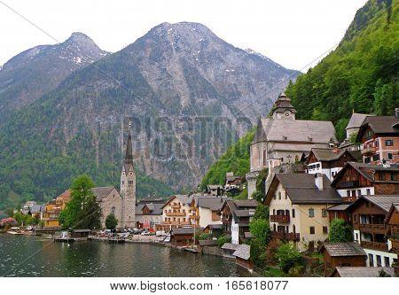 The picturesque Lake Village of Hallstatt in Salzkammergut of Austria, UNESCO World Heritage village