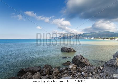 panorama of the mountains of Sudak / bright summer photo trip to the Crimea