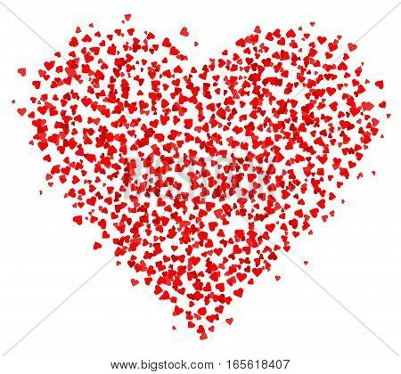 Lots of small Red Hearts composed in one heart shape decoration for greeting cards about love. Happy Valentine's day greeting card isolated on white background. Vector illustration. EPS10