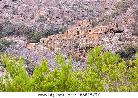 OMAN: An abandonned village in  Saiq Plateau (Western hajar)