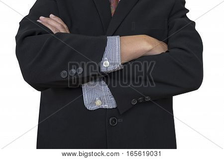 businessman in suit with arms folded on white background