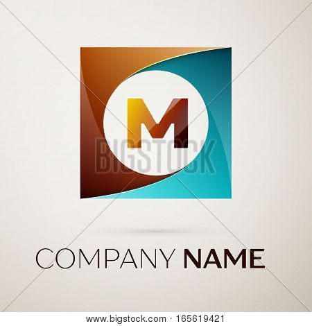 Letter M vector logo symbol in the colorful square on grey background. Vector template for your design