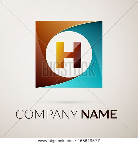 Letter H vector logo symbol in the colorful square on grey background. Vector template for your design