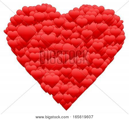 Happy Valentine's day greeting card. One red beautiful heart made of many little hearts greeting card about love. Poster print. Vector illustration. EPS10