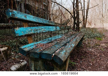 Rusty And Old Bench At Ghost Town Chernobyl, Ukraine.