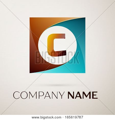Letter C vector logo symbol in the colorful square on grey background. Vector template for your design