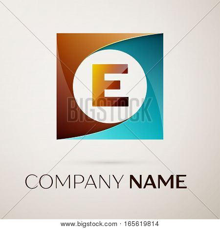 Letter E vector logo symbol in the colorful square on grey background. Vector template for your design