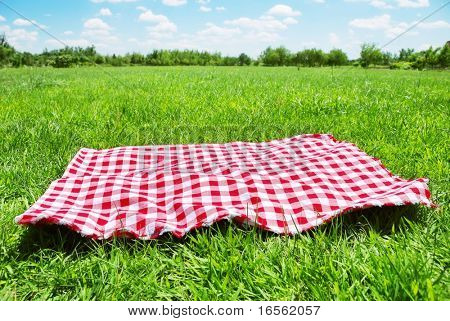picnic cloth on meadow with copy space