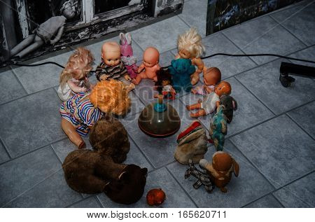 Soviet Dolls Toys In Chernobyl Nuclear Disaster Area.