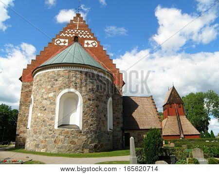 Stunning Gamla Uppsala Kyrka (Old Church) and the Bell Tower in the Old Town of Uppsala, Sweden, Scandinavia