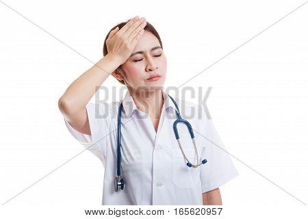 Asian Young Female Doctor Got Headache.