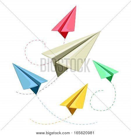 Vector Illustration of Colorful Paper Plane Fying
