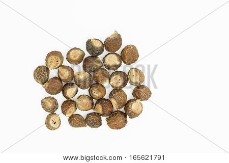 Soapnuts {Sapindus emarginatus} on a white background
