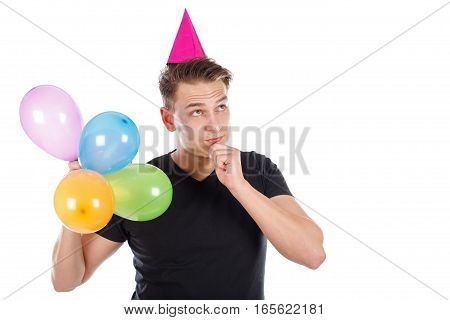 Picture of a sexy young man with birthday decoration