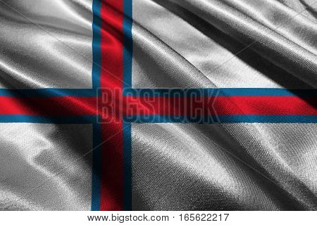 Faroe islnads flag 3D illustration symbol. 3D Faroe islnads flag