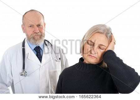 Picture of an upset patient with serious headache and her doctor
