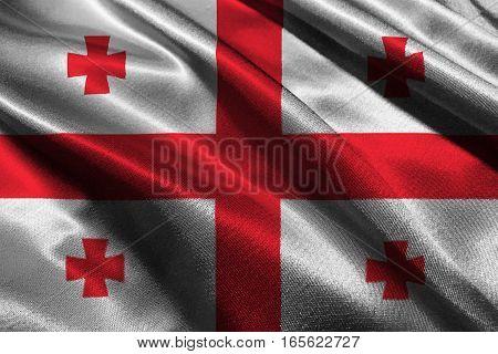 Georgia flag ,3D Georgia national flag 3D illustration symbol.