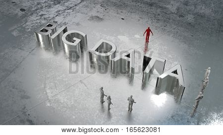 Huge word big data on wet metal floor surrounded by a group of people 3D illustration